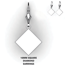 Load image into Gallery viewer, Personalized square diamond earrings - design your own earrings - custom diamond square earrings
