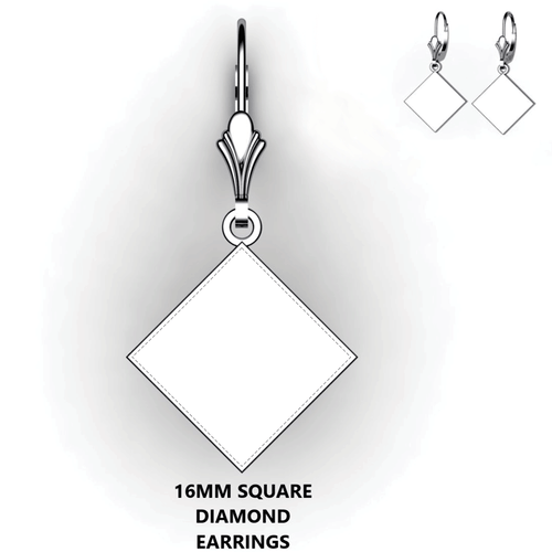 Personalized square diamond earrings - design your own earrings - custom diamond square earrings