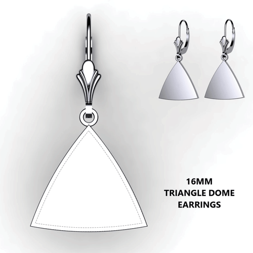 Personalized triangle domed earrings - design your own earrings - custom triangle earrings