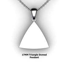 Load image into Gallery viewer, pesonalized triangle pendant necklace - design your own necklace - triangle domed pendant personalized jewelry