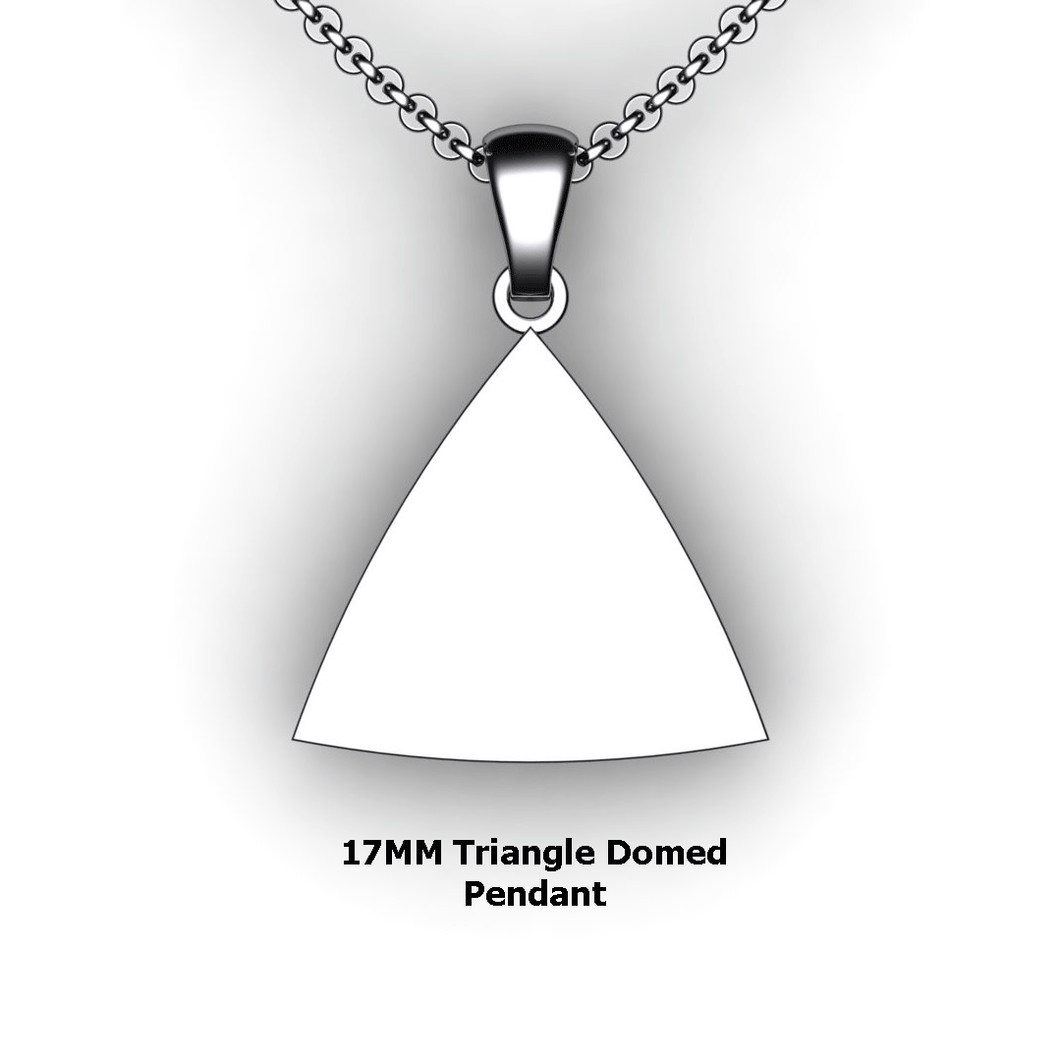 pesonalized triangle pendant necklace - design your own necklace - triangle domed pendant personalized jewelry