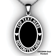 Load image into Gallery viewer, Personalized oval pendant - design your own necklace - custom Embossed oval text formatted with text  pendant