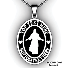 Load image into Gallery viewer, Personalized oval Mission pendant with Christ - design your own necklace - custom Embossed oval text formatted  with Christ pendant