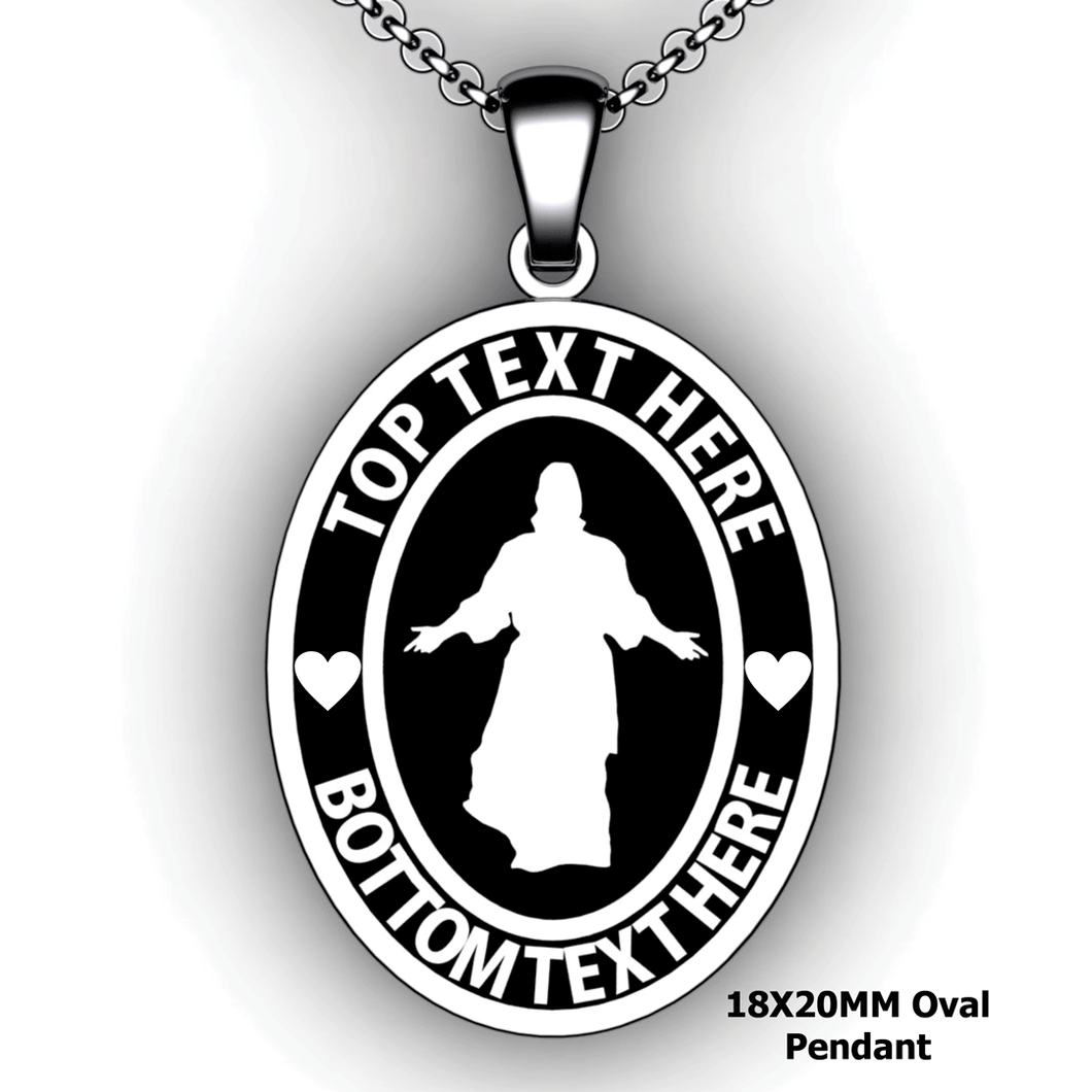 Personalized oval Mission pendant with Christ - design your own necklace - custom Embossed oval text formatted  with Christ pendant