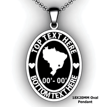 Load image into Gallery viewer, Personalized oval Mission pendant with Country or state - design your own necklace - custom Embossed oval text formatted  with Country or state pendant