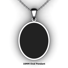 Load image into Gallery viewer, Personalized oval pendant - design your own necklace - custom Embossed oval text formatted pendant 14K YG