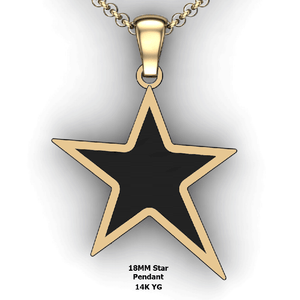 Personalized Star Pendant - design your own necklace - custom Embossed star pendant 14K YG