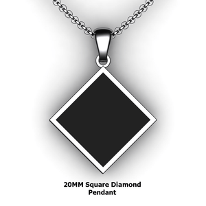Personalized square diamond pendant - design your own necklace - custom square diamond embossed pendant