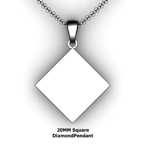 Personalized square diamond pendant - design your own necklace - custom square diamond pendant