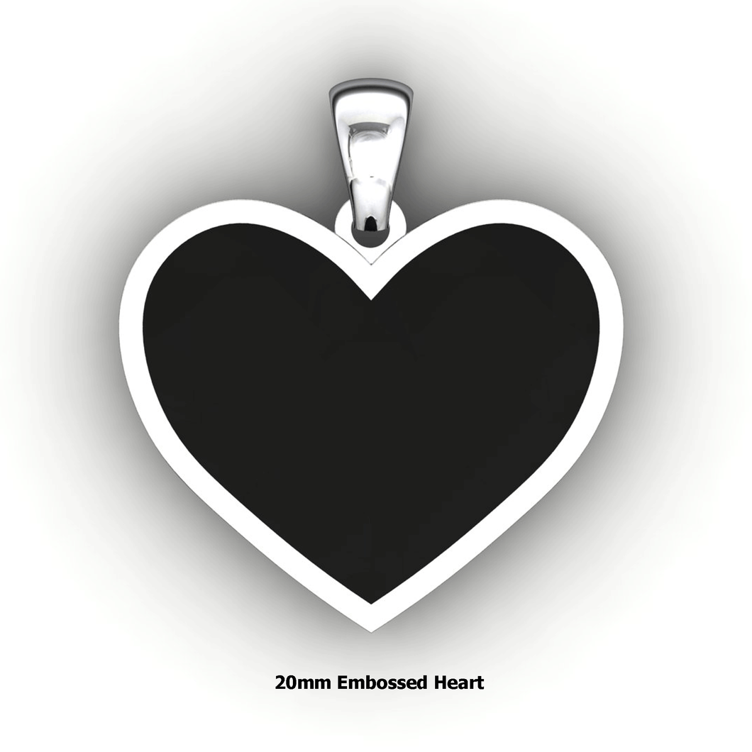 Embossed heart shaped pendant - design your own necklace