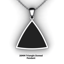 Load image into Gallery viewer, Personalized Triangle Pendant - design your own necklace - custom triangle domed embossed pendant