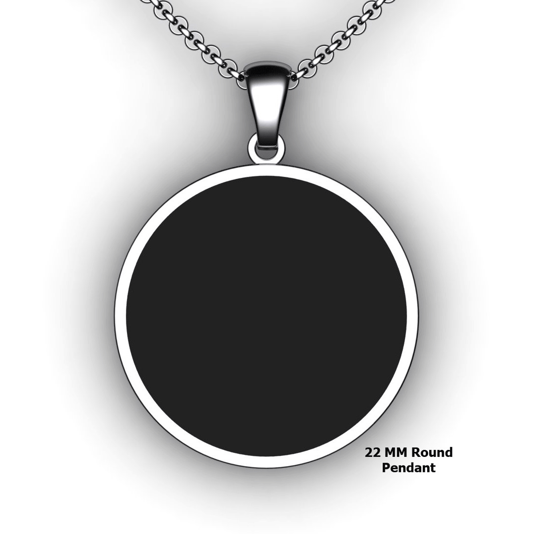 Round Embossed Pendant  - 22mm - Personalized Necklace - Customized