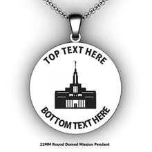 Load image into Gallery viewer, Personalized round Mission pendant with Temple - design your own necklace - custom round text formatted  with Temple Pendant