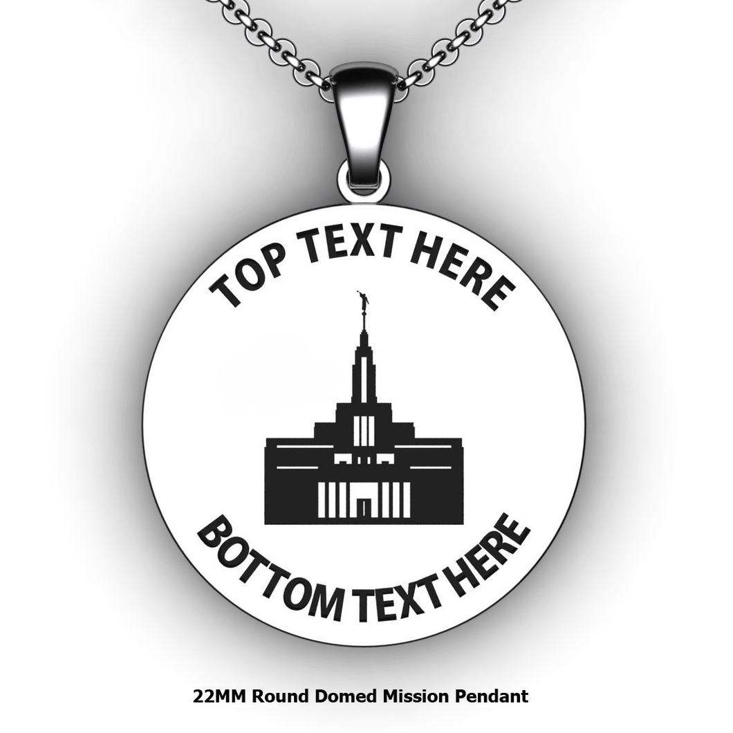 Personalized round Mission pendant with Temple - design your own necklace - custom round text formatted  with Temple Pendant