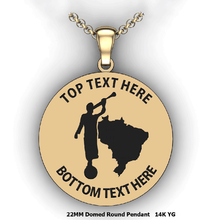 Load image into Gallery viewer, Personalized round Mission pendant with Moroni and Country or state - design your own necklace - custom Embossed oval text formatted  with Country or state  and Moroni pendant 14K YG
