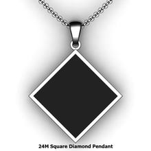 Load image into Gallery viewer, Personalized square diamond pendant - design your own necklace - custom square diamond embossed pendant