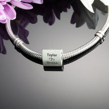 Load image into Gallery viewer, three sided anniversary bead for pandora style bracelets - personalized bracelet