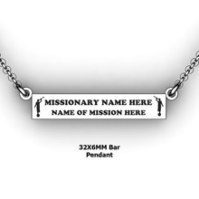 Load image into Gallery viewer, personalized mission bar pendant with 2 Moroni Mission Name and Mission - design your own necklace - custom Horizontal bar pendant