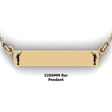 Load image into Gallery viewer, personalized mission bar pendant with 2 Moroni - design your own necklace - custom Horizontal bar pendant 14K YG