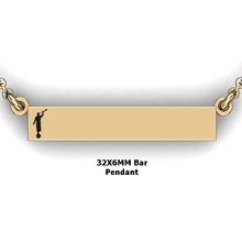 Load image into Gallery viewer, personalized mission bar pendant with Moroni - design your own necklace - custom Horizontal bar pendant 14 K YG