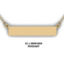 Load image into Gallery viewer, Personalized bar pendant - design your own necklace - custom Horizontal ar pendant 14K YG