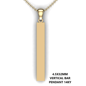 Personalized bar pendant - design your own necklace - custom Vertical bar pendant 14K YG