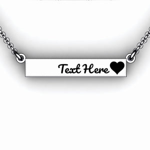 Love Bar Necklace with Initials - Personalize with your Initials - Horizontal Bar Necklace