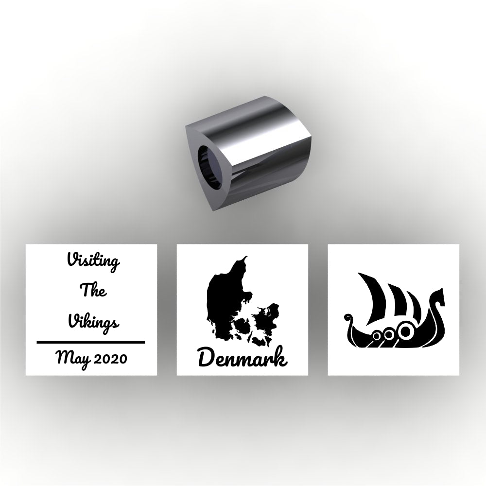 Personalized 3 sided pandora style charm - add your own information to personalize - add Travel information - text, dates, country, symbolsure, Moroni