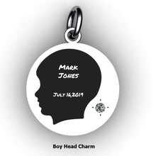 Load image into Gallery viewer, Baby Boy Round Domed Charm with Birthstone