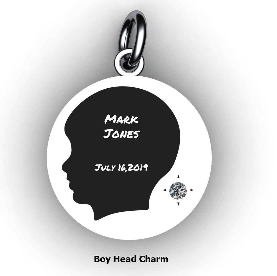 Baby Boy Round Domed Charm with Birthstone