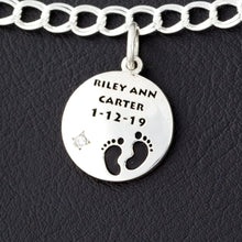 Load image into Gallery viewer, custom round bracelet charm with baby feet, name, birth date and birth stone