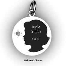 Load image into Gallery viewer, round baby girl charm with name, birth date and birth stone
