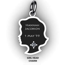Load image into Gallery viewer, baby girl head bracelet charm with name, birth stone and birth date