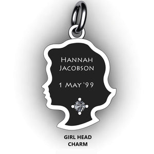 baby girl head bracelet charm with name, birth stone and birth date