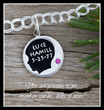 Load image into Gallery viewer, custom baby boy silhouette charm with name, birth date and birth stone