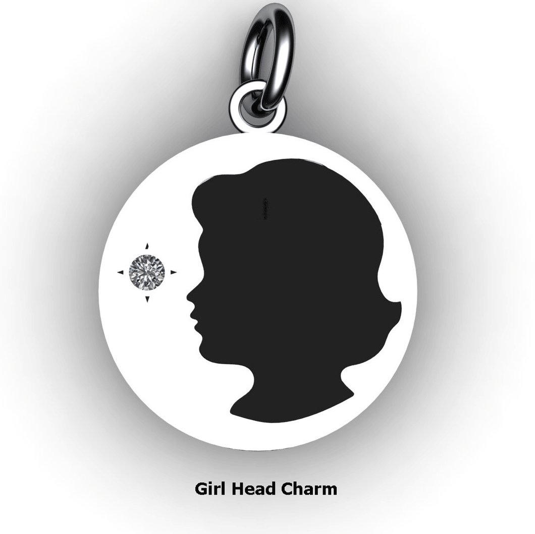 round baby girl charm with name, birth date and birth stone