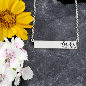 personalized bar necklace with engraving - sterling silver bar necklace