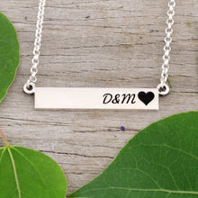 Load image into Gallery viewer, love necklace anniversary gift wedding gift add your initials initials with heart necklace design your own jewelry