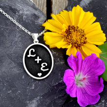 Load image into Gallery viewer, custom couple necklace initial necklace personalize with initials gift for her anniversary gift wedding gift