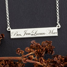 Load image into Gallery viewer, personalized childrens names necklace - bar necklace with engraving - design your own jewelry - personalized necklace for mom