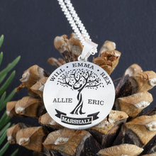 Load image into Gallery viewer, family tree necklace with names - personalized childrens names necklace - make your own custom necklace - family tree template - create a family tree gift