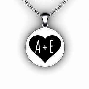 Love Heart Necklace - Round - Personalize with Your Initials