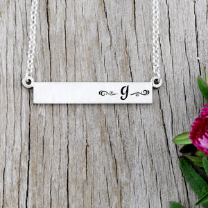 Initial Bar Necklace  - Personalize with Your Initial -  Pre-Designed Necklace