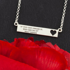Sterling silver personalized bar necklace with heart and custom saying