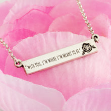 Load image into Gallery viewer, Sterling silver personalized bar necklace with rose and choice of saying or quote