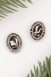 LDS mission pins - personalized lapel pin for LDS missionary - sterling silver pin engraved with missionary name, dates and mission