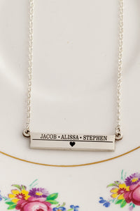 personalized childrens names necklace - bar necklace with engraving - personalized necklace for mom