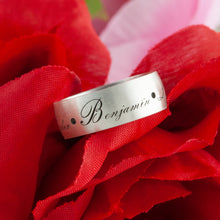Load image into Gallery viewer, Personalized sterling silver ring with custom engraving