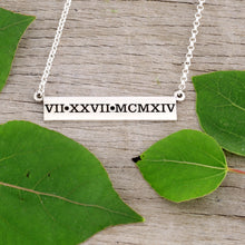Load image into Gallery viewer, Roman Numeral Wedding Date Bar Necklace - Personalize with your special date