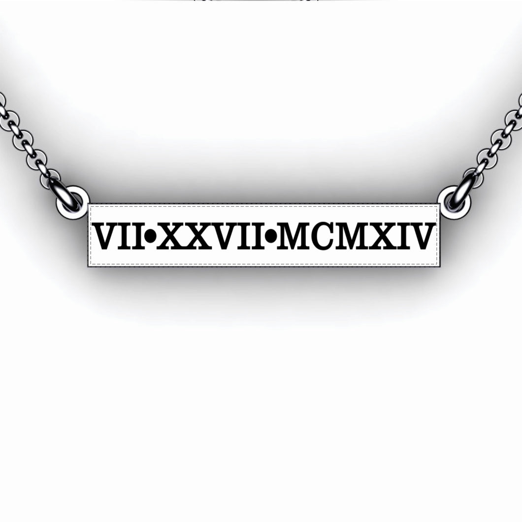 Roman Numeral Wedding Date Bar Necklace - Personalize with your special date